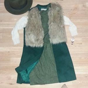 Forever 21 Faux Fur Long Vest- Med